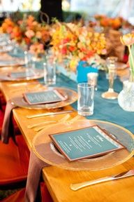 Wedding Tables , Table Centrepiece , Wedding Napkins , Favours , Bonbonnieres , Wedding Menus & Placecards / Escort Cards , Wedding Ideas / #orange wedding table ... Weddings | Set the Table - Beautiful teal and orange wedding decor - #weddings #tablescape