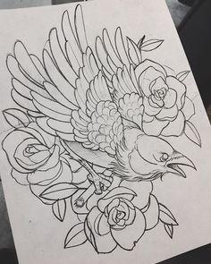 Best Tattoo Traditional Old School Ink Tatoo Ideas Kunst Tattoos, Body Art Tattoos, Sleeve Tattoos, Neotraditionelles Tattoo, Tatoo Art, Tattoo Bird, Crow Tattoo Design, Tattoo Thigh, Butterfly Tattoos