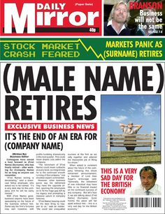 Retirement - Male | Spoof Newspapers for Special Occasions