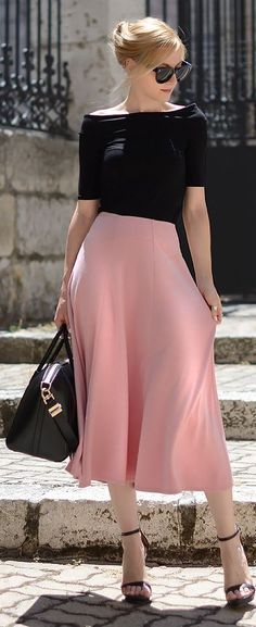 Asos Pink Stitch Waist Detail Midi A-skirt                                                                             Source