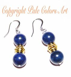 Lapis Lazuli Earrings,10mm Semiprecious Earrings,Stone Earrings,Stainless Steel Hypoallergenic Non-Tarnish  Ear Wires,Lapis Lazuli Earrings