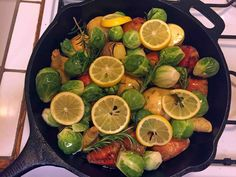 Cast Iron Skillet. Rutabagas, Golden Beets, Brussels Sprouts, Meyer Lemon slices, fresh Rosemary, Olive Oil, Black Pepper, Garlic Granules, Thyme, Parsley. Roast at 350F for an hour or so, until things start turning nice and brown. Enjoy.