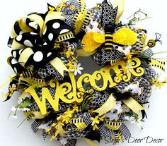 Bumble Bee Spring Welcome Wreath - Summer Front Door Wreath - Floral Wreath - Spring Decor - Easter Wreath - Summer Front Door by StephsDoorDecor on Etsy