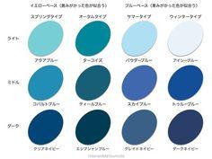 微妙な色の違いで印象が大きく変わります。色見本を参考に、自分に似合うデニムブルーを探しましょう。 Winter Colors, Summer Colors, Spring Color Palette, Clear Winter, Deep Autumn, Light Spring, Color Harmony, Color Effect, World Of Color