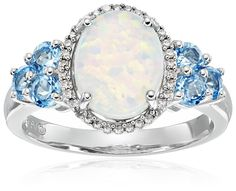 Sterling Silver Licensed Swiss Blue Topaz with Created Opal Framed Drop Diamond Ring (1/10cttw) Size 7 ** Learn more by visiting the image link. (This is an affiliate link and I receive a commission for the sales)