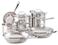 Great Emeril by All-Clad E884SC Chef's Stainless Steel Cookware Set, 12-Piece, Silver