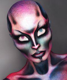 Creepy Makeup, Horror Makeup, Sfx Makeup, Costume Makeup, Glam Makeup, Makeup Art, Alien Make-up, Bald Cap, Theatrical Makeup