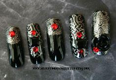 3-D Gothic Nails — Gothic Nail Art by NeverTooMuchGlitter