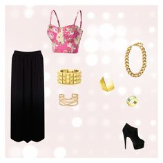 """Gold chains"" by bruna-xox ❤ liked on Polyvore featuring Oasis, Giuseppe Zanotti, Stella & Dot, House of Harlow 1960, Tom Binns, Avanessi, women's clothing, women's fashion, women and female"