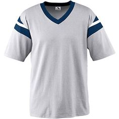 Augusta Sportswear Men's V Neck Vintage Jersey. 665 Description   6 ounce 50% polyester/50% cotton jersey knit, Contrast color 1x1 rib-knit V-neck collar, Contrast color sleeve inserts with accent stripes, Set-in sleeves, Double-needle hemmed sleeves and bottom.