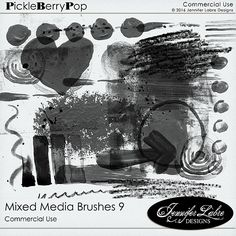 Mixed Media Brushes 9 CU digital scrapbooking commercial use tool by Jennifer Labre Designs