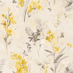 Spring Meadow (21629) - Albany Wallpapers - A fresh all over wallpaper, featuring a trailing pattern of spring flowers and grasses, with metallic detailing. Shown here in the yellow colourway. Other colourways are available. Please request a sample for a true colour match. Paste-the-wall product.