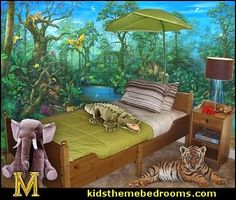 Exotic Nature, Beautiful Kidu0027s Bedroom With Jungle Theme Decor
