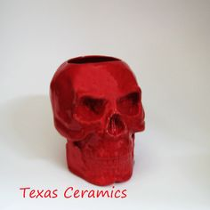 Skull Holder for Toothbrush Pencils Tools or Planter in Red Ceramic | TexasCeramics - Housewares on ArtFire
