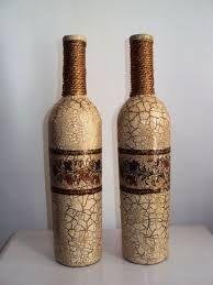 Resultado de imagem para how to fabric decoupage wine bottle Empty Wine Bottles, Wine Bottle Art, Painted Wine Bottles, Diy Bottle, Bottle Vase, Bottles And Jars, Decoupage Glass, Jar Art, Glass Bottle Crafts