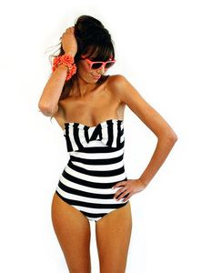 This bathing suit is so fun! Makes me want to take the plunge into horizontal stripes. $129 at shop.ilovelolli.com