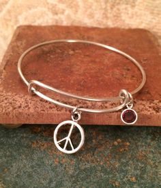 Alex and ani Inspired Peace Sign Bangle by GrecoGirlJewelry