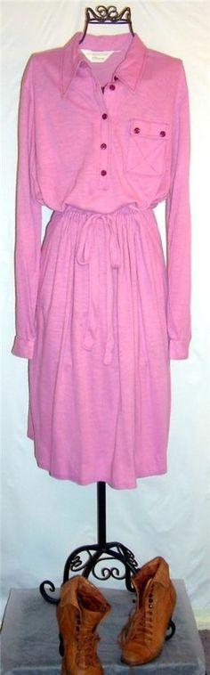 $9.99 Vintage Retro 1970s Dress JC Penny jersey knit tie waist purple shirt dress