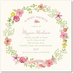 Pretty Wreath - Baby Shower Invitations in Medium Pink | Lady Jae Designs