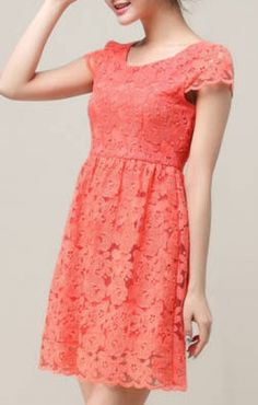 O-neck Short Sleeves Hook Flowers Hollow-out Lace Dress
