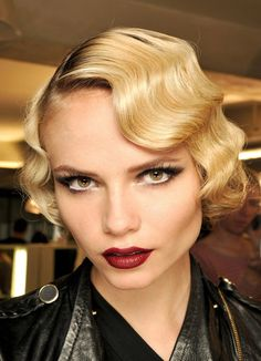 vintage glam waves with dark red lips