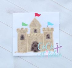 Sand Castle Embroidery Applique Design - pinned by pin4etsy.com