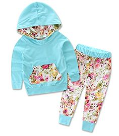 nice Baby Girls Floral Hoodie+ Floral Pant Set Leggings 2 Piece Outfits (12-18Months, Blue)