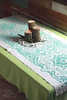 angled_table_runner using a canvas drop cloth