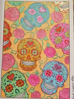 Gel Pens And Glitter Markers Day Of The Dead Bendon Book
