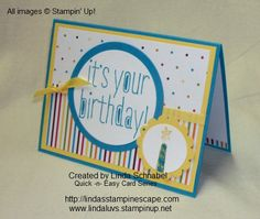 Birthday Card featuring Stampin' Up! Stamp Set Big News and Sweet Taffy Designer Series Paper.  Details at http://lindasstampinescape.com
