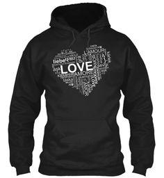 Love Liebe Amor L'amour Amore Amor Laska Gra Cinta Karlek Black T-Shirt Front