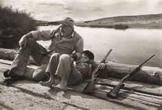 Ernest Hemingway and his son Gregory. Sun Valley, October 1941. Photo by Robert Capa.