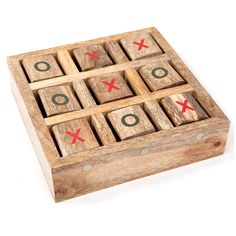 No pencil or paper is required for this all-in-one wooden tic-tac-toe game. Perfect for car or airplane travel, this novel approach to the classic game will keep your kids enthralled. This fair-trade game is handmade by artisans from mango wood. Woodworking Projects For Kids, Woodworking Tips, Wood Projects, Woodworking Square, Woodworking Equipment, Woodworking Essentials, Woodworking Magazines, Woodworking Machinery, Woodworking Workbench