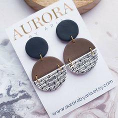 Hand Painted Jewellery Semicircle Earrings Black Brown Dangle Earrings Statement Jewelry Gift for Girl White And Black Accessories Present Polymer Clay Crafts, Polymer Clay Jewelry, Resin Jewelry, Diy Jewelry, Jewelry Gifts, Jewelry Making, Diy Clay Earrings, Wood Earrings, Dangle Earrings