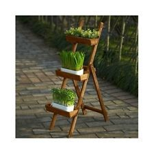 Rustic Plant Stand Wood Garden Planter Country Ladder Flower Wooden Patio Yard
