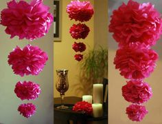 4 Classic Tissue Paper Poms: garland - wedding - outdoor decor - baby shower - garden party - bridal shower - choose your colors