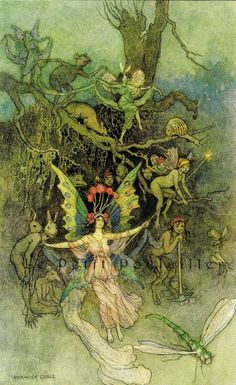 Warwick Goble Book of Fairy Poetry Fairy Tale Lithographs