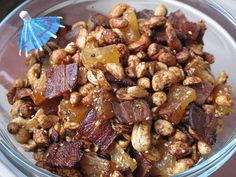 Tiki Snack Mix: Salty, sweet, meaty, and rich, tiki snack mix hits all of the marks for a no-fail appetizer (that is unless you and yours eschew bacon).