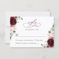 Complete your wedding stationery suite with this stylish RSVP card! #printable #wedding #RSVP #replycard #kindlyreply #weddingresponsecard #enclosurecard #weddingstationery #weddinginvitationsuite #weddinginvitationset #SHdesigns Wedding Rsvp, Wedding Invitation Sets, Wedding Stationery, Floral Wedding, Burgundy And Blush Wedding, Blush Pink, Wedding Response Cards, Blush Flowers, Printable