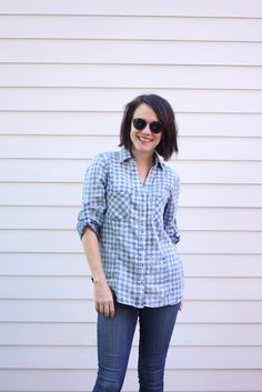 Mad about plaid! Blair of Wild & Precious opts for cool blues for a perfect fall weekend-ready look.