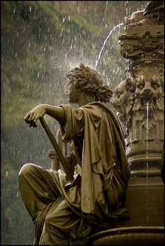 Fountain in the rain - Scotland