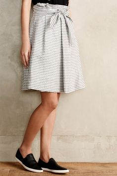 """I could make something like this.  Sanna Paperbag Skirt #anthrofave by Corey Lynn Calter $168.00 at Anthropology  Cotton; polyester lining Knotted waist detail Front pockets Back zip 20""""L"""