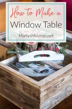 This DIY tutorial explains how to make a window table with storage for practically nothing. Great furniture idea for the rustic shabby chic look. #martysmusings #diywindowtable #repurposedwindows #windowtabledecor #diycoffeetable #oldwindowideas
