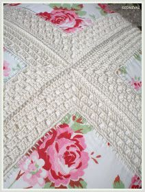 No pattern, but inspiring! Crochet and fabric squares quilt afghan blanket, Crochet adds a soft vintage feel to pretty linens.especially nice in a guFabric Crochet Quilt Is The Project You've Been Looking ForREDNEVAL-LAVENDER - I have no idea what la Crochet Bedspread, Crochet Fabric, Crochet Quilt, Crochet Home, Love Crochet, Crochet Crafts, Crochet Blankets, Baby Blankets, Single Crochet