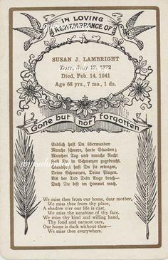 Death Card, Funeral Card 1961  #151