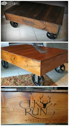 Pallet Wood Coffee Table Use pallet wood to make a factory cart. Also tells you where you can buy those industrial wheels and transfer a logo onto your coffee table/ factory cart.