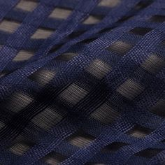 Navy Cotton Check Cotton Silk Blend