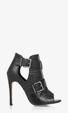 CROCODILE FRONT PEEP TOE RUNWAY BOOTIE from EXPRESS