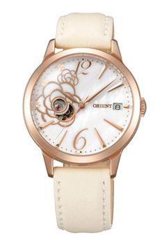 Часы c цветком на белом кожаном ремешке (ORIENT)
