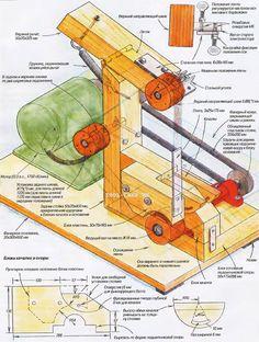Home-brew belt sander plan. Anyone read Russian? Woodworking Jigs, Woodworking Projects, Belt Grinder Plans, Homemade Machine, Knife Making Tools, Metal Working Tools, Tool Shop, Got Wood, Diy Workshop